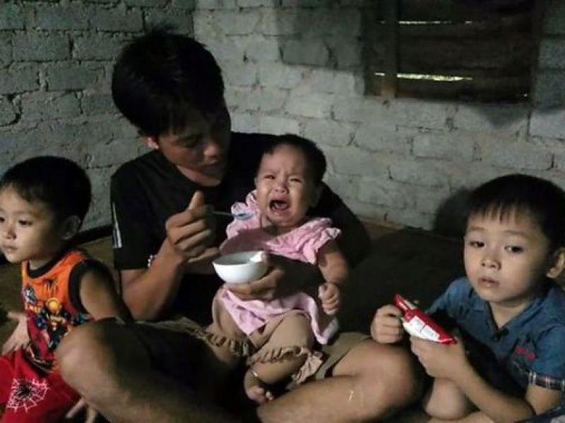 Xót xa cảnh 3 đứa con thơ mất mẹ đúng ngày giỗ ông!